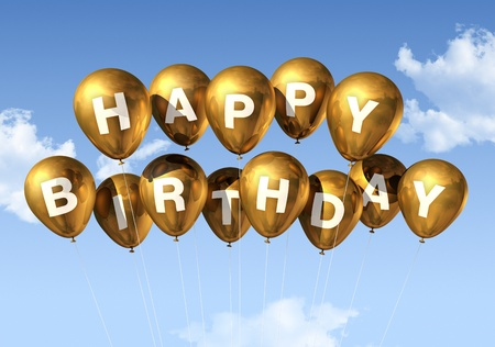 3d text: 3D gold Happy Birthday balloons in the sky Stock Photo