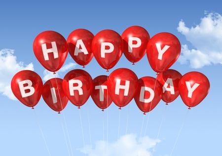 globos de cumplea�os: 3D globos rojos de feliz cumplea�os en el cielo Foto de archivo
