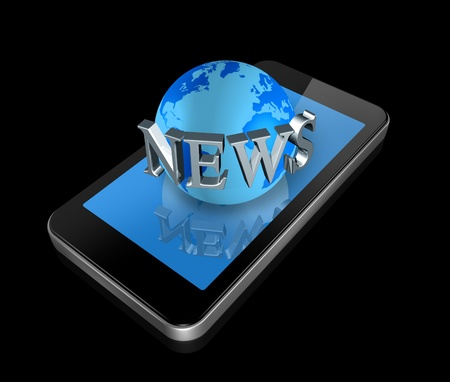 three dimensional mobile phone and news world globe Stock Photo - 8859269
