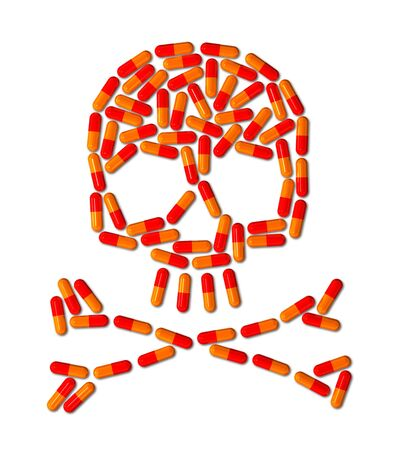 3D skull made of capsule pills isolated on white photo