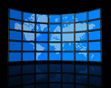 3D video wall of flat tv screens with world map photo