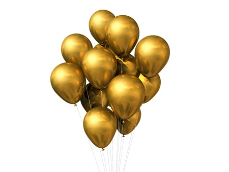 gold string: 3D gold air balloons isolated on white background