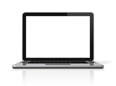 3D blank laptop computer isolated on white with 2 clipping path : one for global scene and one for the screen photo