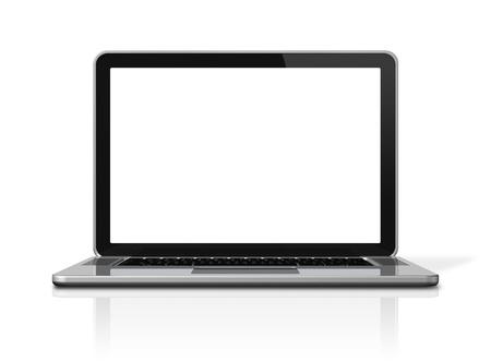 3D ordinateur portable blanc isolé sur blanc avec chemin de détourage deux: une pour la scène mondiale et l'un pour l'écran