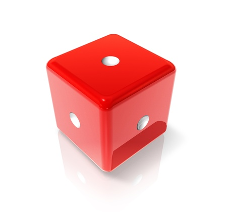 one to one: 3D red dice with one dot on all sides Stock Photo