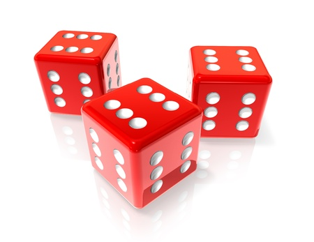 sides: three 3D red dices with six on all sides. Win concept