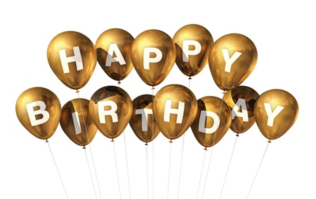 gold string: 3D gold Happy Birthday balloons isolated on white background