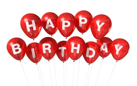 auguri di buon compleanno: 3D palloncini rossi Happy Birthday isolati su sfondo bianco Archivio Fotografico