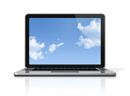 3D laptop computer with sky in screen isolated on white with 2 clipping path : one for global scene and one for the screen photo
