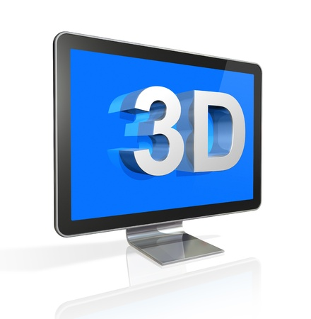 3dtv: three dimensional television screen with 3D text. isolated on white with 2 clipping paths : one for global scene and one for the screen