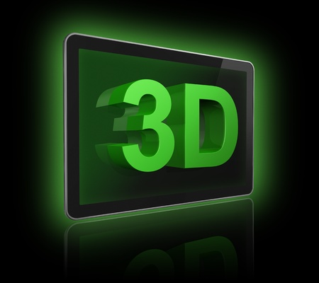 3dtv: three dimensional television screen with 3D text. isolated on black with 2 clipping paths : one for global scene and one for the screen