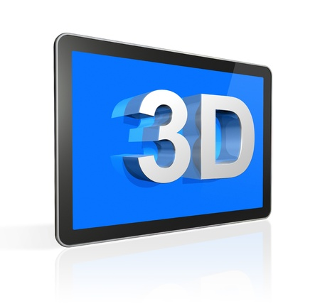 three dimensional television screen with 3D text. isolated on white with 2 clipping paths : one for global scene and one for the screen photo
