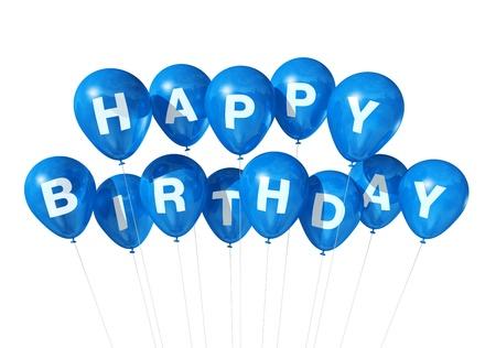 3D ballons bleus de Joyeux anniversaire isolés sur fond blanc