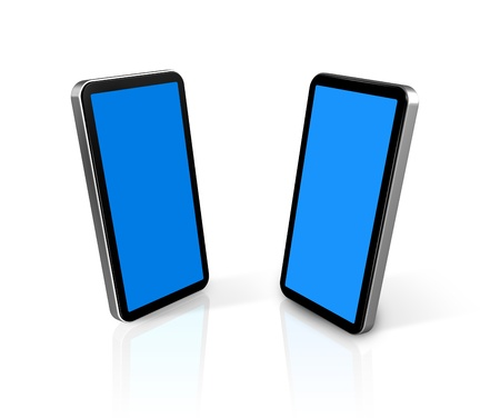 two three dimensional connected mobile phones isolated on white with screens clipping path photo