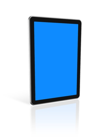 3D digital tablet pc, computer screen isolated on white. With 2 clipping paths : global scene clipping path and screens clipping path to place your designs or pictures photo