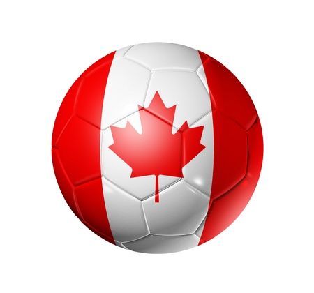 canadian flag: 3D soccer ball with Canada team flag. isolated on white with clipping path