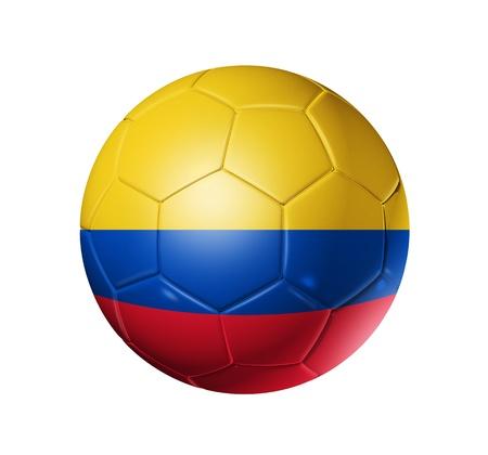 la bandera de colombia: Bal�n de f�tbol 3D con la bandera del equipo de Colombia. aislados en blanco con trazado de recorte
