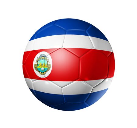 3D soccer ball with Costa Rica team flag. isolated on white with clipping path