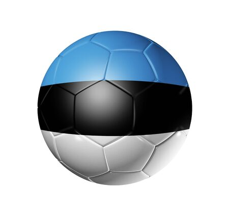 3D soccer ball with Estonia team flag. isolated on white with clipping path photo