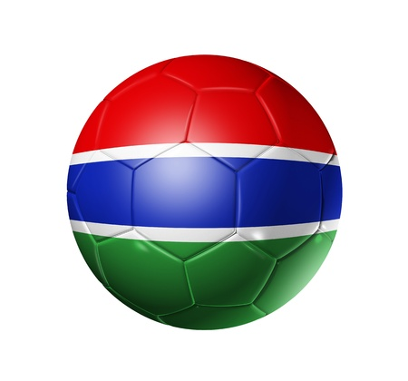 gambia: 3D soccer ball with Gambia team flag. isolated on white with clipping path