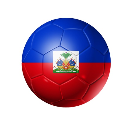 3D soccer ball with Haiti team flag. isolated on white with clipping path photo
