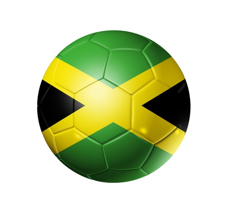 3D soccer ball with Jamaica team flag. isolated on white with clipping path photo