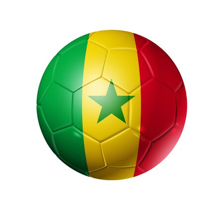3D soccer ball with Senegal team flag. isolated on white with clipping path photo