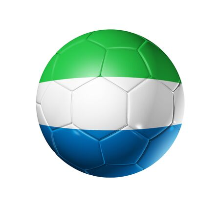 sierra: 3D soccer ball with Sierra Leone team flag. isolated on white with clipping path