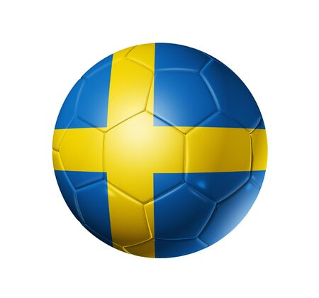 the swedish flag: 3D soccer ball with Sweden team flag. isolated on white with clipping path