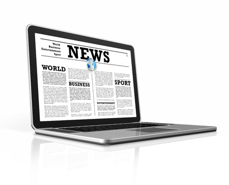 News on a laptop computer isolated on white with clipping path photo