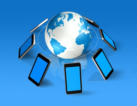 3D isolated mobile phones around a world globe photo