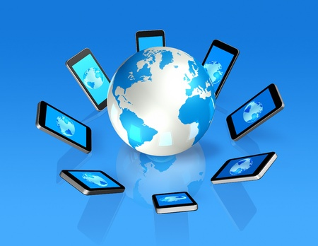 electronic organiser: 3D isolated mobile phones around a world globe Stock Photo