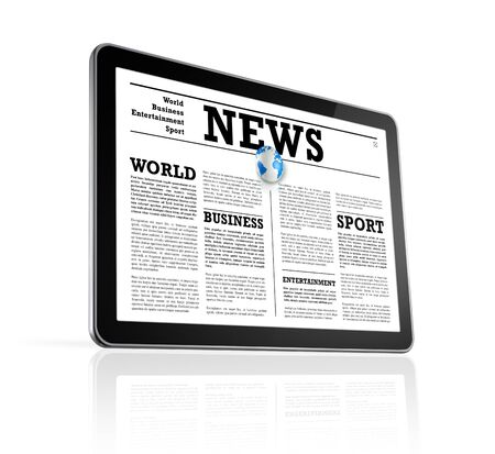 News on a digital tablet pc computer - isolated on white with clipping path photo