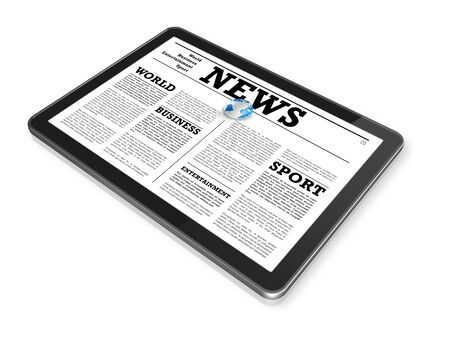 News on a digital tablet pc computer - isolated on white with 2 clipping path : one for global scene and one for the screen photo