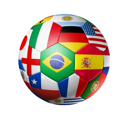 3D football soccer ball with world teams flags. brazil world cup 2014. Isolated on white with clipping path photo