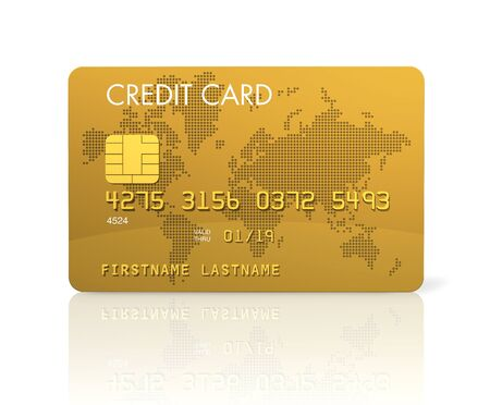 Gold credit card, 3D render isolated on white
