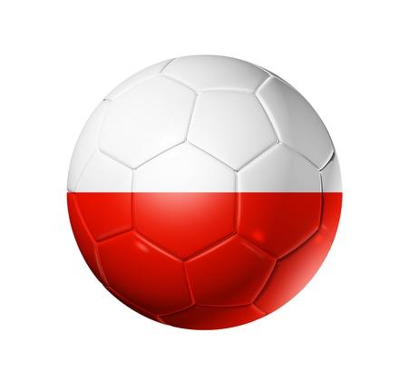 pelota de futbol: Bal�n de f�tbol 3D con la bandera del equipo de Polonia
