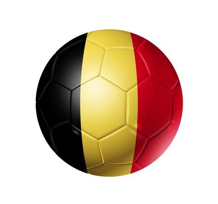 pelota de futbol: Bal�n de f�tbol 3D con la bandera del equipo de B�lgica. aislado en blanco con trazado de recorte