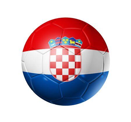 bandera croacia: Bal�n de f�tbol 3D con la bandera del equipo de Croacia. aislado en blanco con pat de recorte