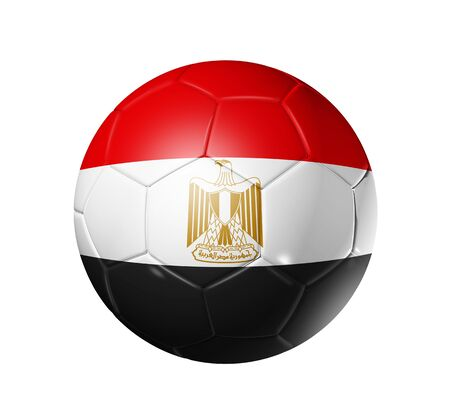egypt flag: Bal�n de f�tbol 3D con la bandera del equipo de Egipto. aislado en blanco con trazado de recorte Foto de archivo