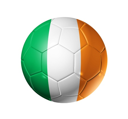 irish flag: 3D soccer ball with Ireland team flag. isolated on white with clipping path Stock Photo