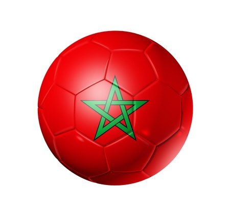 3D soccer ball with Morocco team flag. isolated on white with clipping path photo