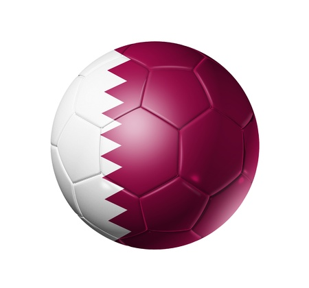 3D soccer ball with Qatar team flag. isolated on white with clipping path