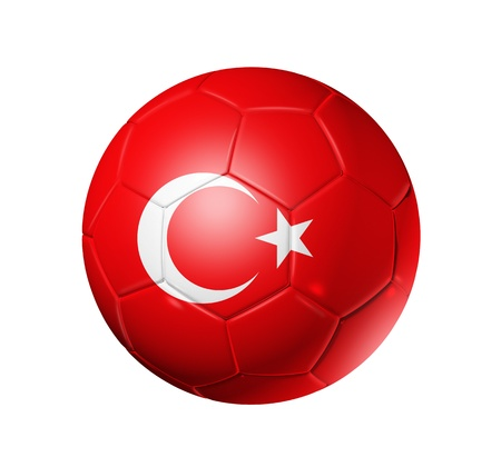 turkish flag: 3D soccer ball with Turkey team flag. isolated on white with clipping path Stock Photo
