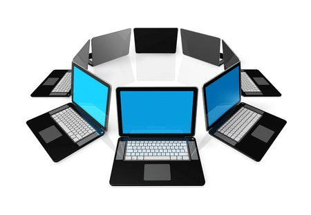 3D black laptop computers isolated on white Stock Photo - 9804938