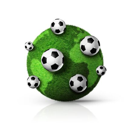 3D green grass world globe with soccer balls photo