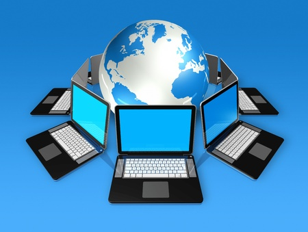 3D laptop computers around a world globe isolated on blue photo