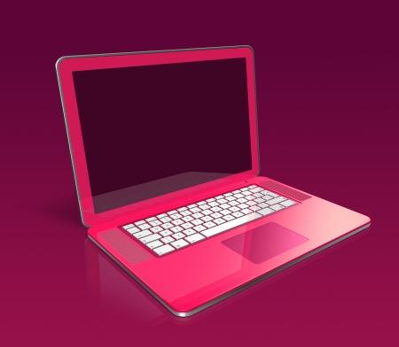 3D pinkfarbener Laptop auf lila hintergrund isoliert Stockfoto - 9958657