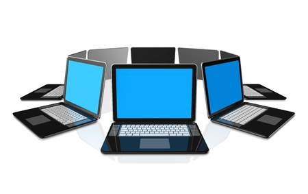 3D black laptop computers isolated on white Stock Photo - 9958646