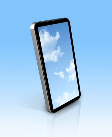 blue sky in a 3D mobile phone Stock Photo - 9958656